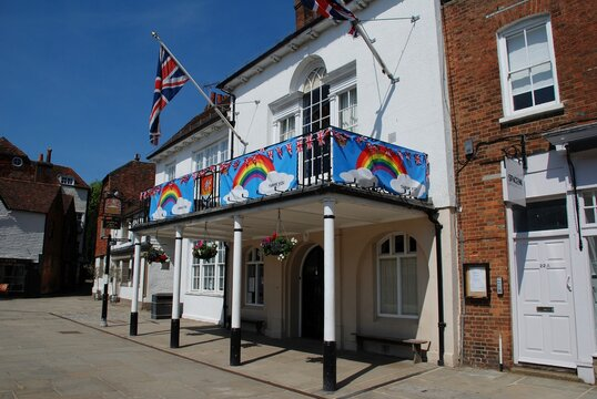 The Town Hall decorated with rainbow banners thanking NHS workers during the Coronavirus pandemic at Tenterden in Kent, England on May 27, 2020. The building dates from 1790.