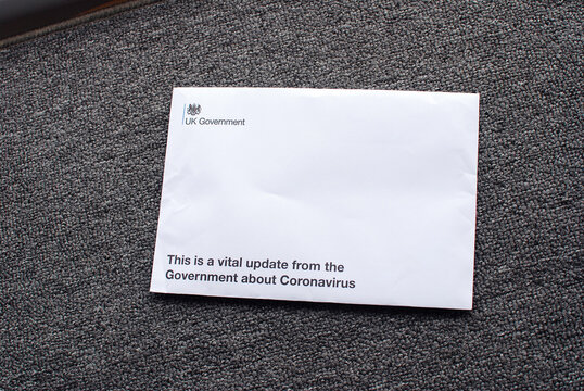 A guidance letter from the UK Government giving advice on Coronavirus  on a doormat at Tenterden in Kent, England on April 12, 2020.