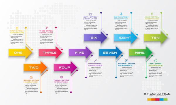 10 steps arrow infographic element,Business concept,Vector illustration.