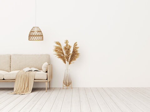 Living room interior wall mockup in warm tones with beige linen sofa, dried Pampas grass, woven basket lamp and boho style decoration on empty wall background. 3D rendering, illustration.