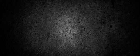 Old wall texture cement dark black gray panorama background abstract grey color design are light with white gradient background. Fotomurales