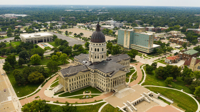 Few are around on Sunday at the Kansas state capital building in Topeka KS