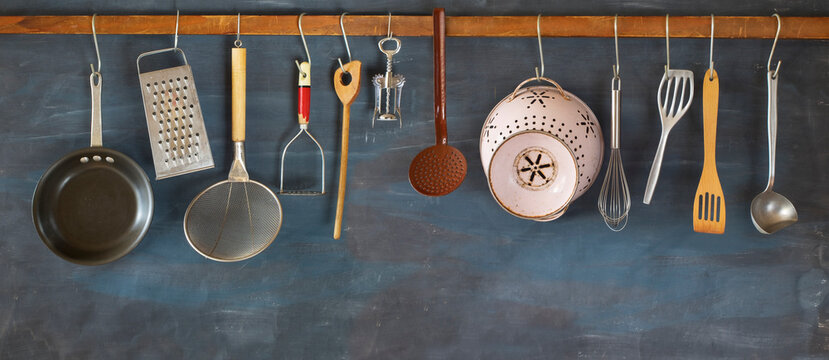 Kitchen utensils for commercial kitchen, restaurant ,cooking, kitchen concept, panoramic large copy space