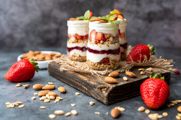 Strawberry Dessert Jar,  yogurt fruit parfait topped with almonds