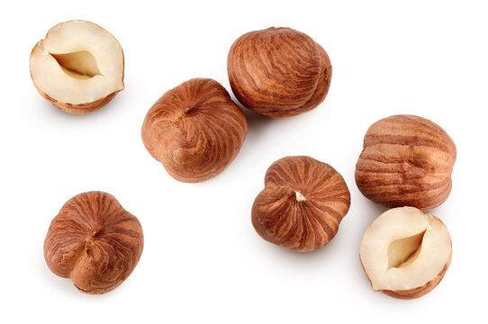 Top view of hazelnuts isolated on white background