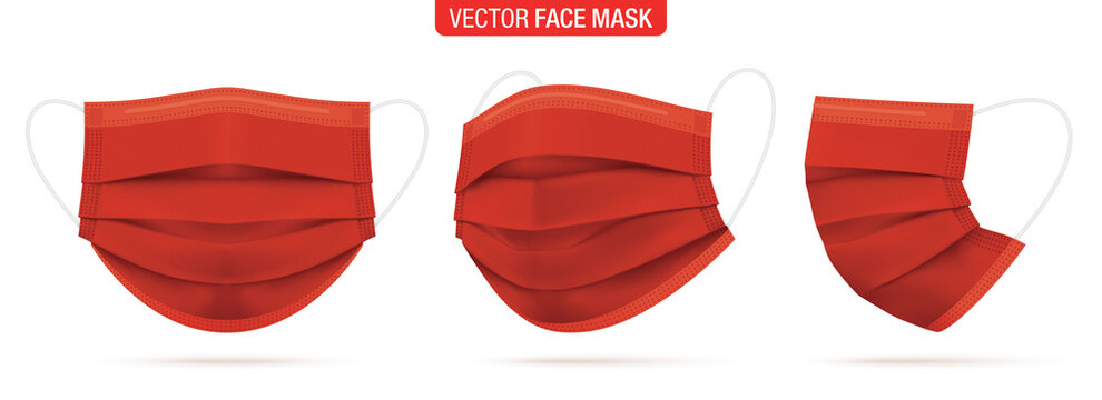 Red surgical face mask, vector illustration. Medical protective masks, from different angles isolated on white. Coronavirus protection mask with earloop, in a front, three-quarters, and side views.