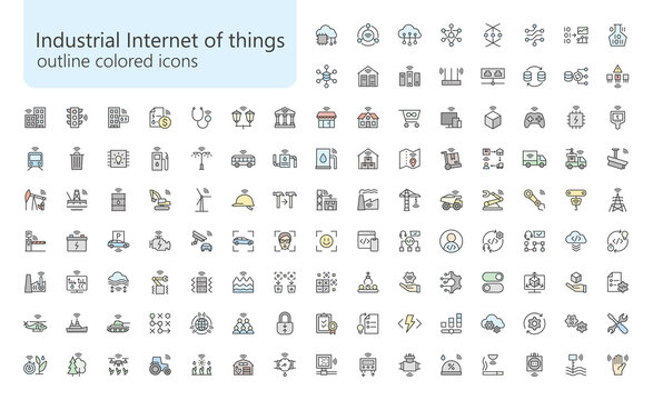 IIoT outline colored iconset