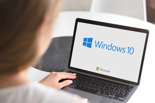 Guilherand-Granges, France - October 28, 2020. Notebook with Microsoft Windows 10 logo. Operating systems developed by Microsoft.