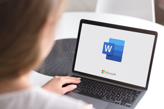 Guilherand-Granges, France - October 28, 2020. Notebook with Microsoft Word logo. Word processor developed by Microsoft.