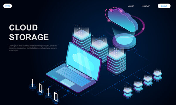 Concept of cloud storage. Big data source, data center cloud computing. Can be use for, website, landing page, web, ui, banner, flyer, poster, template. Isometric vector illustration