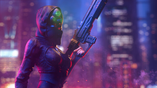 Futuristic woman in hooded leather jacket wears night vision helmet holds assault rifle in one hand on night light bokeh in city. 3d illustration of a dangerous cyberpunk girl in tight black clothes.