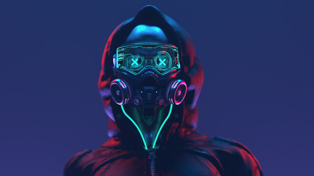 Fashion cyberpunk girl in leather black hoodie jacket wears gas mask with protective glasses and filters, glowing green wires. Colorful 3d illustration of sci-fi human skull with a cross in the eyes.