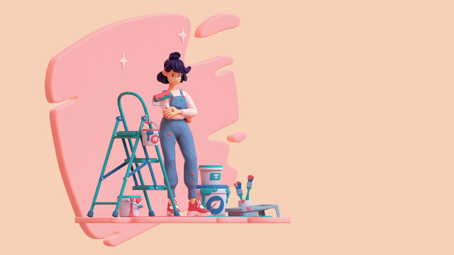 3d illustration of happy cute lady painter in blue work overalls holds a roller with ecological paint in her hand. Objects for renovation, green step ladder, paint buckets, brushes in jar, roller tray