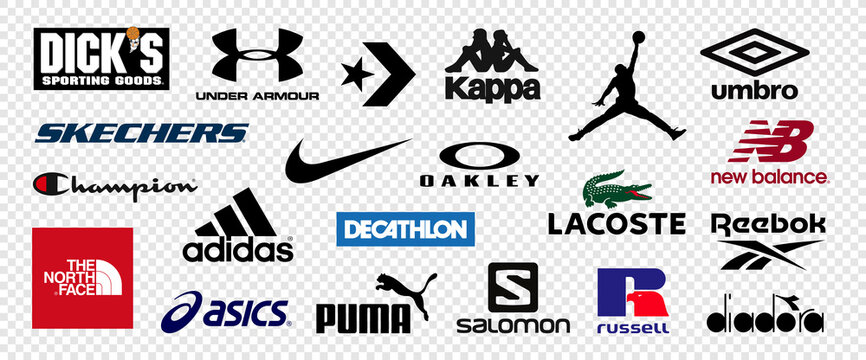 Top 10 logos of popular sportswear brands. Logo Nike, Adidas, Under Armour, DKS, Puma, Sketchers, Columbia Sportswear, ASICS, The North Face, Converse. Vector illustration