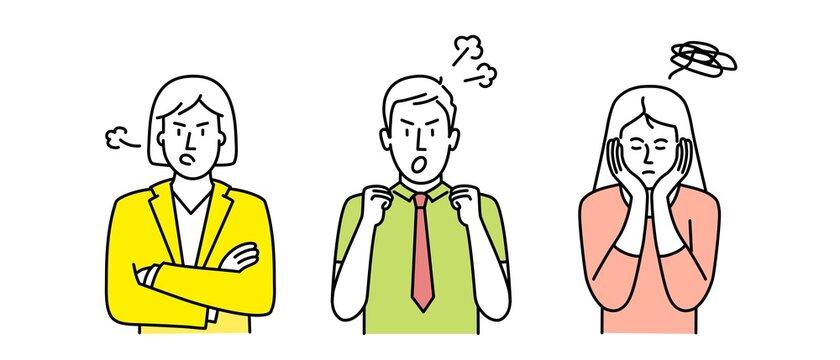 People show negative gestures. Sign language, emotions expression. Vector illustration.