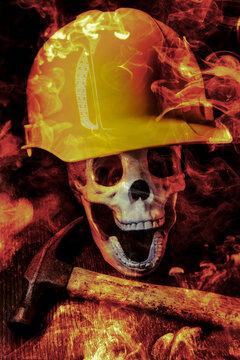 Construction Worker Skull Fire