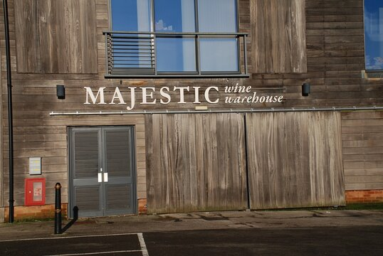 A branch of wines retailer Majestic Wine Warehouse at Tenterden in Kent, England on December 25, 2019. All 190 UK stores were acquired by Fortress Investment Group in August 2019.