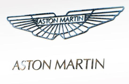 Kiev, Ukraine - October 2, 2011: Emblem of Aston Martin on a white background