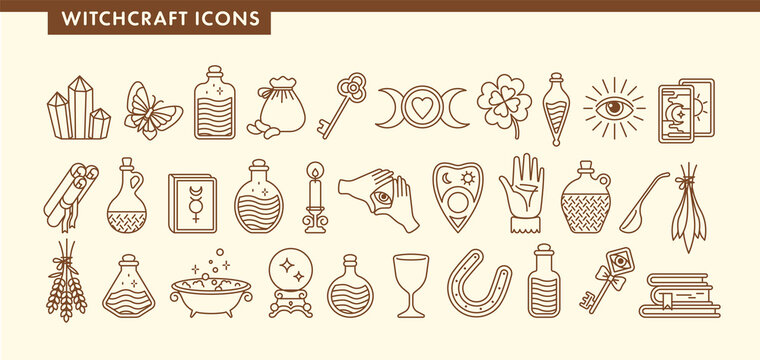 Set for witchcraft icons. Book, cup, crystal, tarot cards, butterfly, horseshoe, moon, magic ball, beans, lavender, bottles with potion and poison. Halloween. Outline vector illustration.