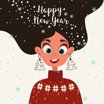 Christmas card with cute girl and snowflakes.