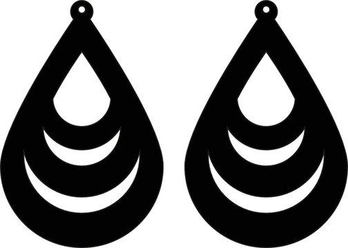 tear drop teardrop earrings triple line svg earrings template for cricut and silhouette cut file vector