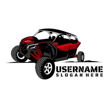 UTV offroading social club  logo design vector