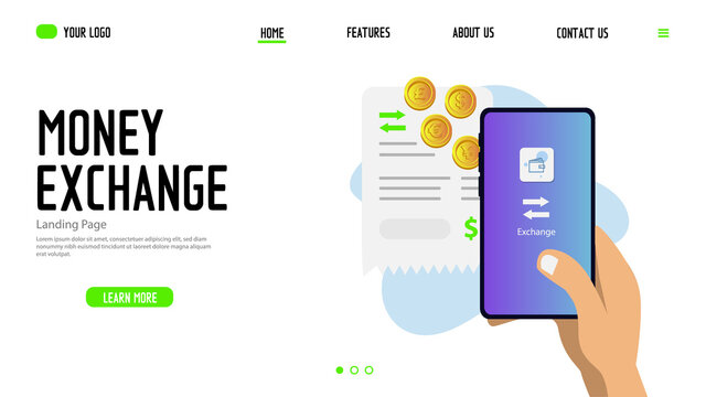 Money exchange landing page template design for website and app
