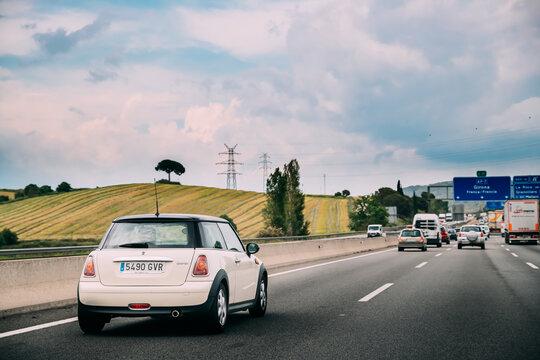 Mini Hatch Second generation (R56) Driving In Motorway Road