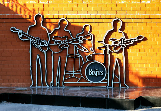 The Beatles Monument in Yekaterinburg, Russia. The monument was unveiled on May 23, 2009; this is the first monument to The Beatles in Russia.