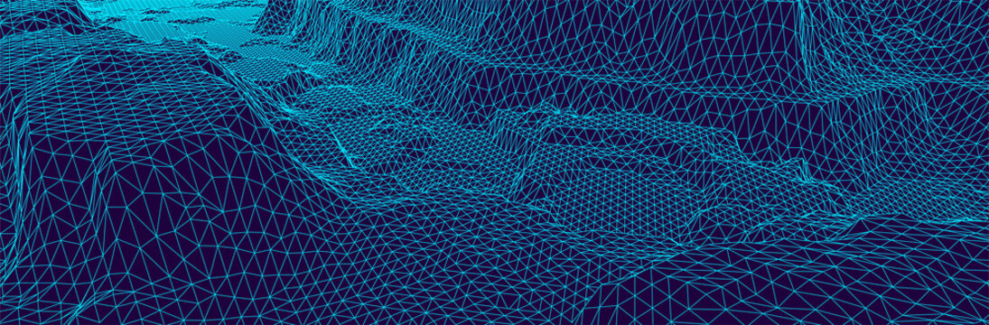 3d wireframe landscape. Triangulated computer terrain. Dark wide topographic background. Blue thin line grid. Abstract presentation or banner template. Virtual surface. Stock vector illustration