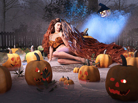 3D Photo of a Young Woman Lying in a Pumpkin Patch