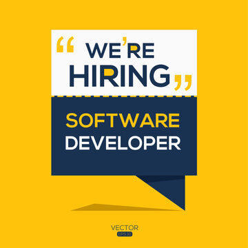 creative text Design (we are hiring Software Developer),written in English language, vector illustration.
