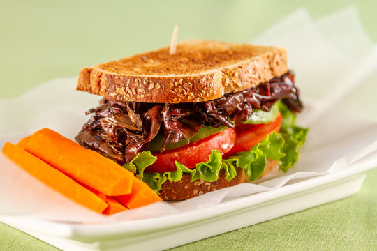 A vegan BLT sandwich using Dulse (seeweed) for bacon.