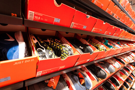 Bangkok / Thailand - November 2019 : Nike sport shoe in vary models and series are on sale in the factory outlet store as special discount price.