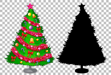 Set of christmas tree on transparent background