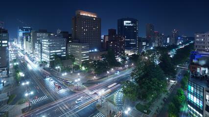 夜景 交差点 広島市
