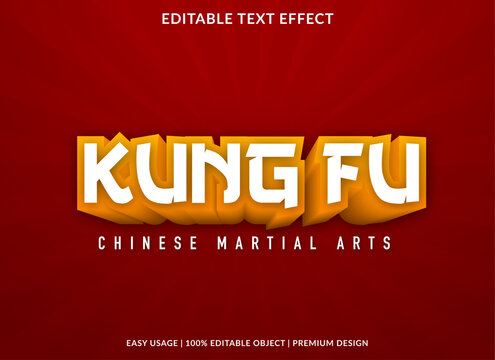 kung fu text effect template with 3d bold style use for business logo and brand