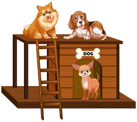 Dog house with cute dogs isolated