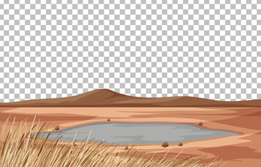 Dry land landscape on transparent background
