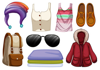 Set of fashion outfits and accessories on white background