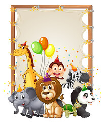 Canvas wooden frame template with wild animals in party theme isolated