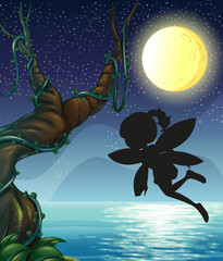 Fairy silhouette in nature background