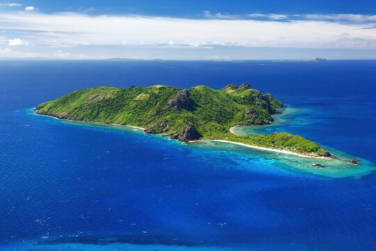 Aerial view of Kuata Island, Yasawas, Fiji