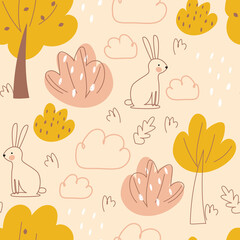 Seamless pattern with animals abstract autumn background. Vector illustration, in a modern cartoon style, for printing on packaging paper, postcard, poster, banner, clothing. Cute children's backgroun
