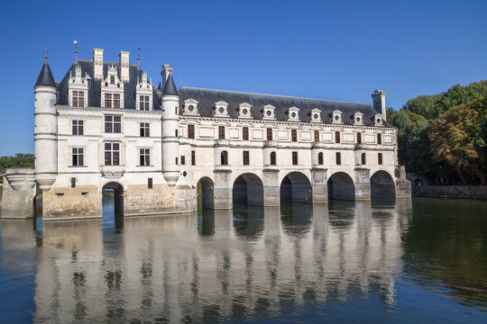 Blois, France - September 10, 2014: Moated castle on the Loire: Chateau de Chenonceau, built between 1515 and 1522, Blois, France