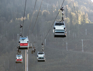 Aerial cable cars or gondola lifts for passengers transportation