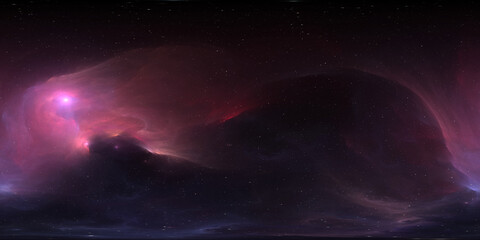 360 degree equirectangular projection space background with nebula and stars, environment map. HDRI spherical panorama