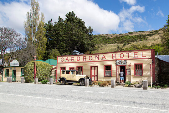 Wanaka, New Zealand: October 20, 2015: Historic Cardrona Hotel established in 1863 as part of the gold rush township in the 1860's. A favourite stop for tourists and locals alike.