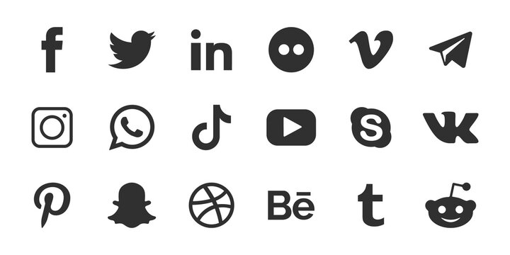 Social media icons set. Facebook, twitter, instagram, pinterest, tik tok logo vector.