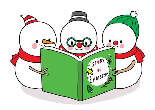 Hand draw cartoon cute Merry Christmas, Snowman reading book vector.